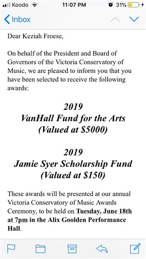 Keziah Froese, recipient of Van Hall Fund for the Arts Scholarship 2019
